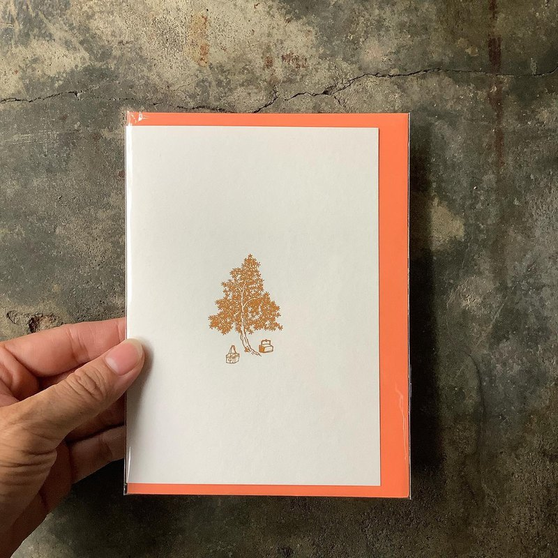 Card / Merry Christmas Christmas mustard painting / coral orange envelope
