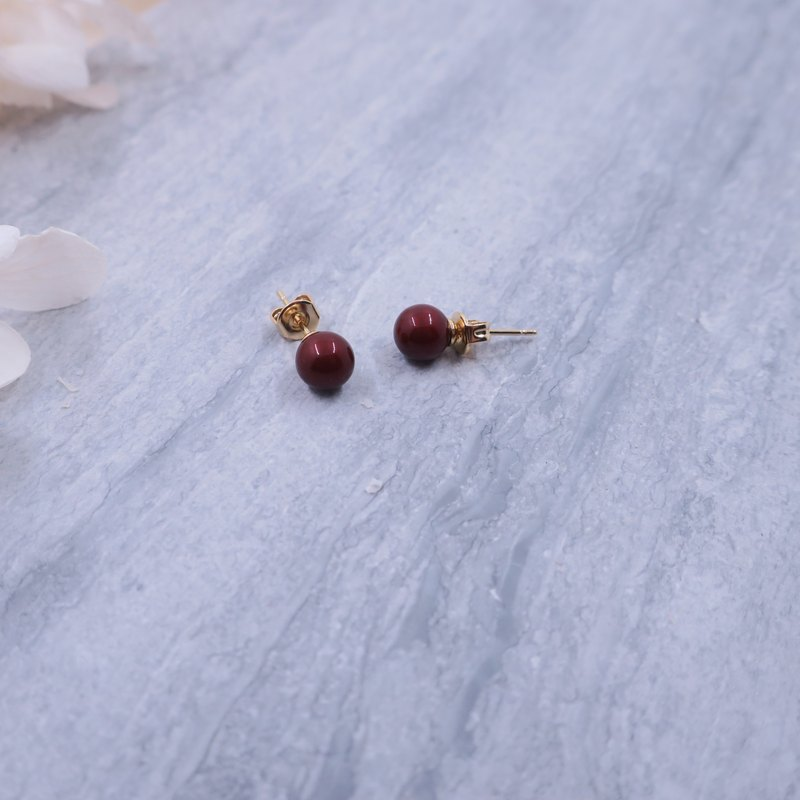 Japan imported ear needles | Bordeaux red small fruit Swarovski crystal pearl simple ear needle