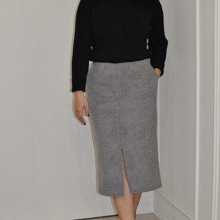 Flat 135 X Taiwan Designer Series 90% Wool Fabric Knee Straight Pencil Skirt Edition English Style Narrow Edition Over Knee Pencil Skirt Small Sexy