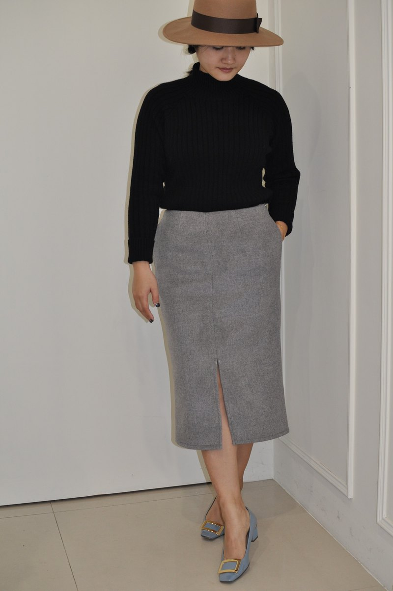 Flat 135 X Taiwan designer series 90% wool cloth over the knee straight pencil skirt version of the narrow skirt