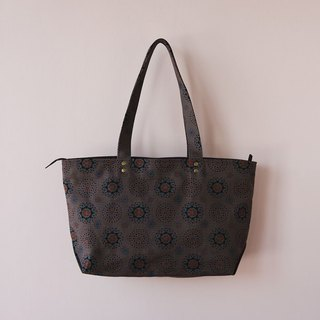 Top Zip Canvas Big Tote Bag / Firework / Dark Night Grey