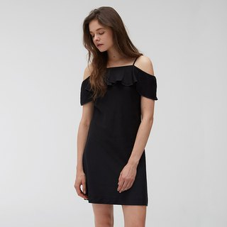 Copper Ammonia Silk Slim Shoulder Dress - Black