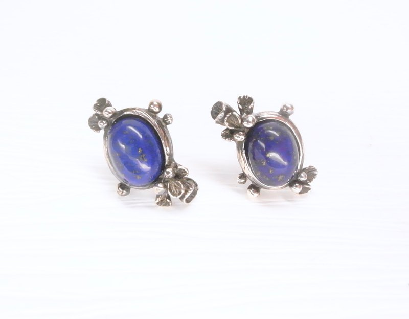 Ermao silver [morning dew package - fern design earrings] lapis lazuli. Sterling silver. a pair