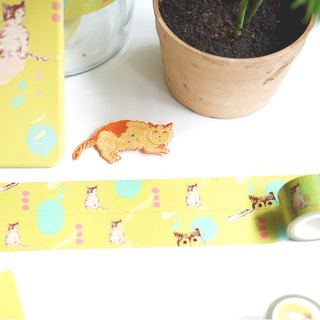 Yellow green tabby cat paper tape 3cm wide and 10m in length