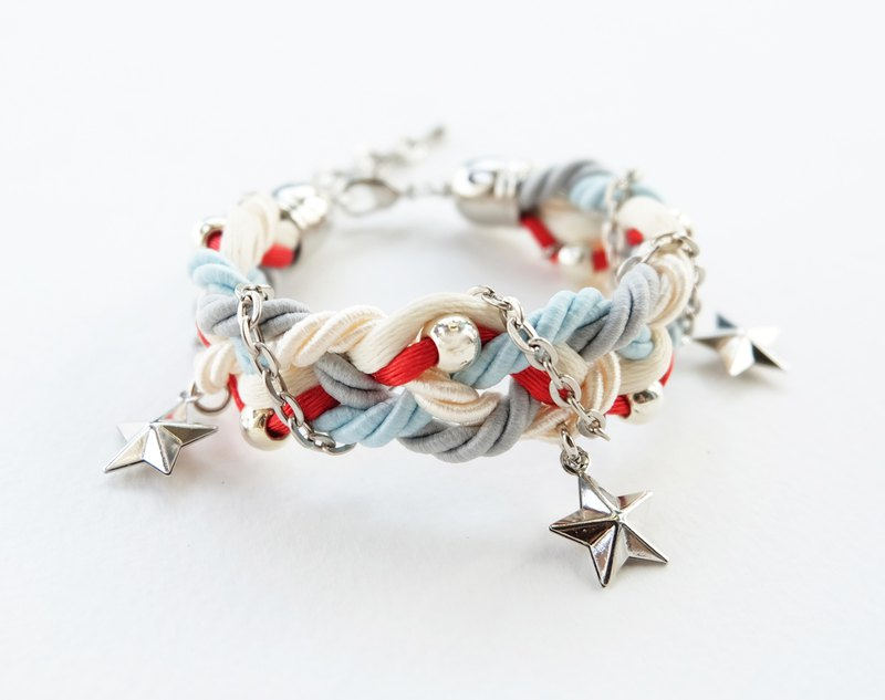 Cream Red Gray braided bracelet with silver color materials and stars