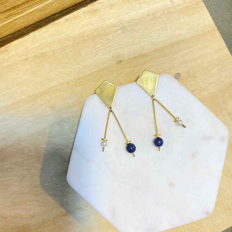 Handmade brass earrings pin/clip