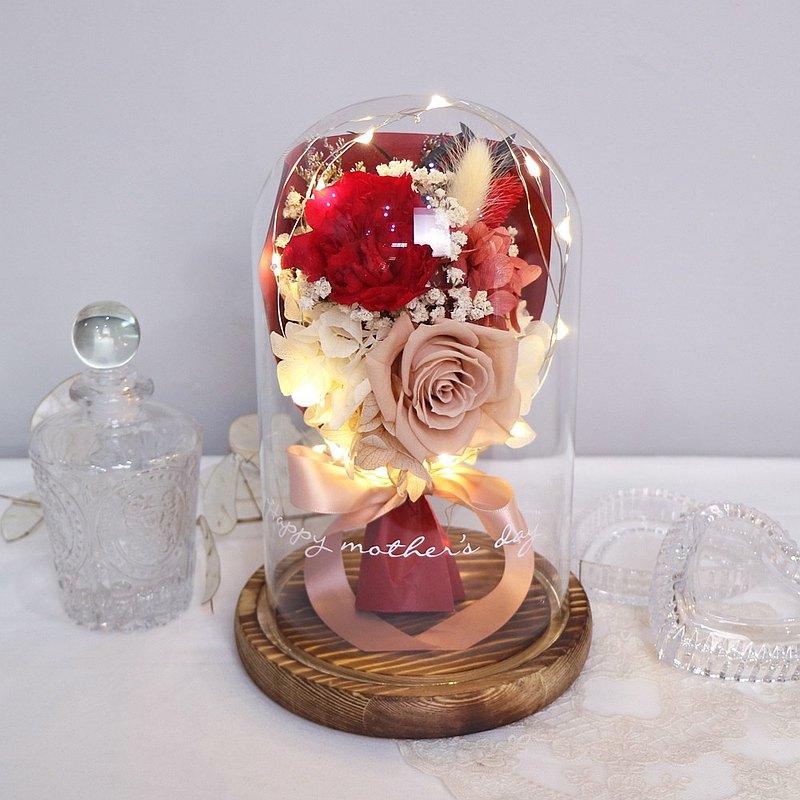 【免運】LED康乃馨小花束永生花玻璃鐘罩【紅色康乃馨】母親節