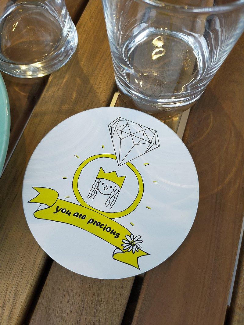 插畫陶瓷吸水杯墊-你是有價值的