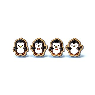 Painted wood earrings-penguin