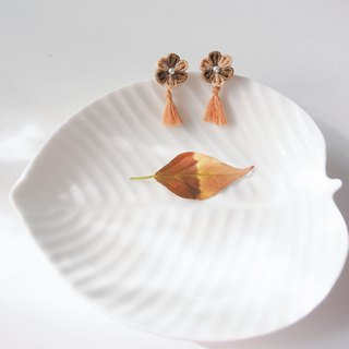 Tan and Woody Brown Fabric Flower and Tassel Earrings Clip-on 14KGF, S925 custom