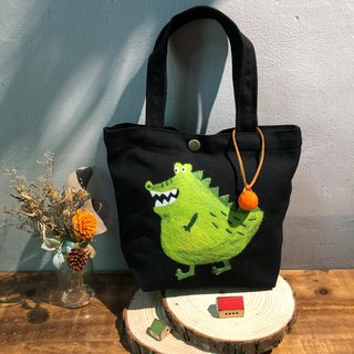 Wool felt embroidery green lunch bag - Mr. Crocodile
