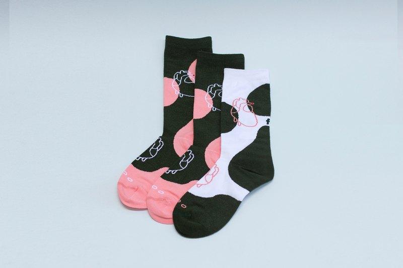 三隻襪子一雙腳系列 - 心臟 深綠色 白色 中筒襪