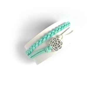 Handmade Double Braided Rose Bracelet–light blue limited