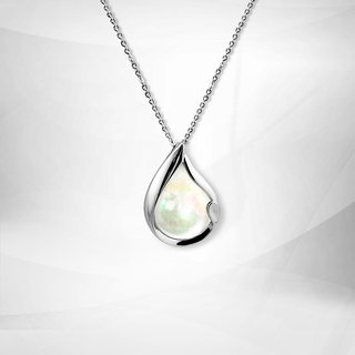VOSHAS ZEN Collection [eternal tears] 925 sterling silver mother of pearl necklace