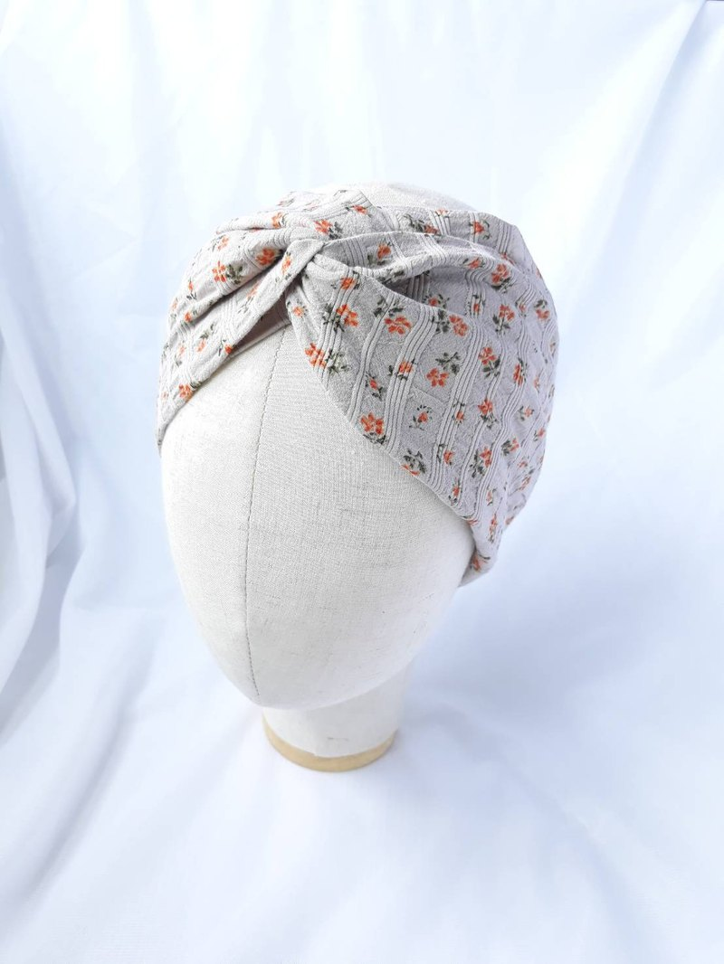 Beige small orange flower headband scarf wide hair band