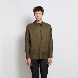 Silly and Unclear - Fake Two-Piece Double Pocket Shirt - Dark Green