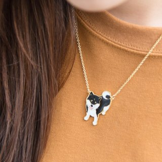 Little Oh Brand Co-Laughter Firewood Handmade Necklace Black Scotch Shiba Necklace