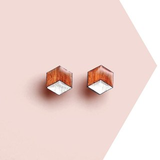 Hex - wooden earrings, red brown / Titanium stud earrings or plastic clip earrings