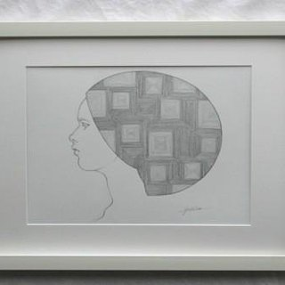 Pencil drawing 【hair】 * 08 Framed