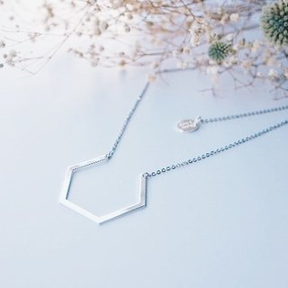 Imperfect hexagon - necklace imperfect hexagonal - Silver