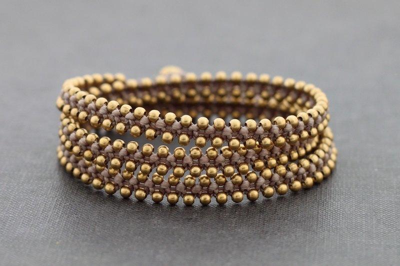 陶粒編織黃銅包裹手鐲男女皆士串珠