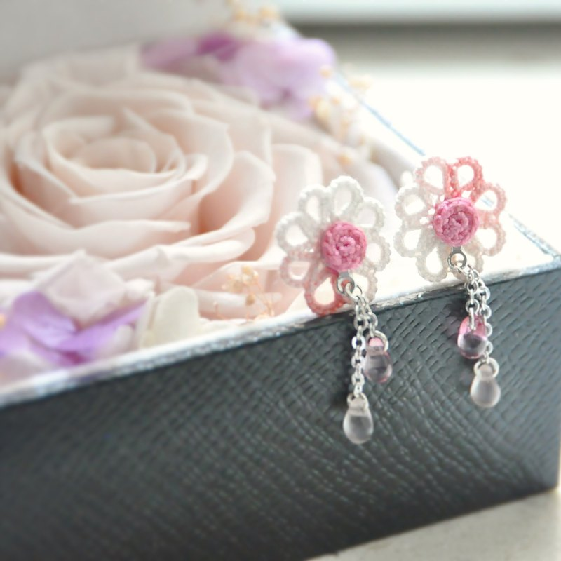 "Armei ""custom"" eight floral pink two wearing earrings Tatting Pink Petal Flower Two Way Earrings"