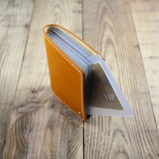 APEE leather handmade ~ portable card clip ~ plain yellow
