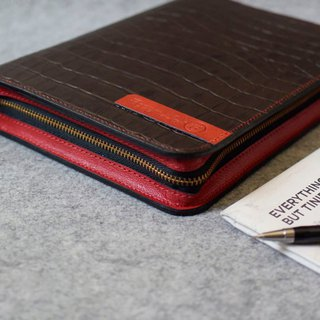 YOURS zippered loose-leaf notebook A5size coffee crocodile pattern + red leather