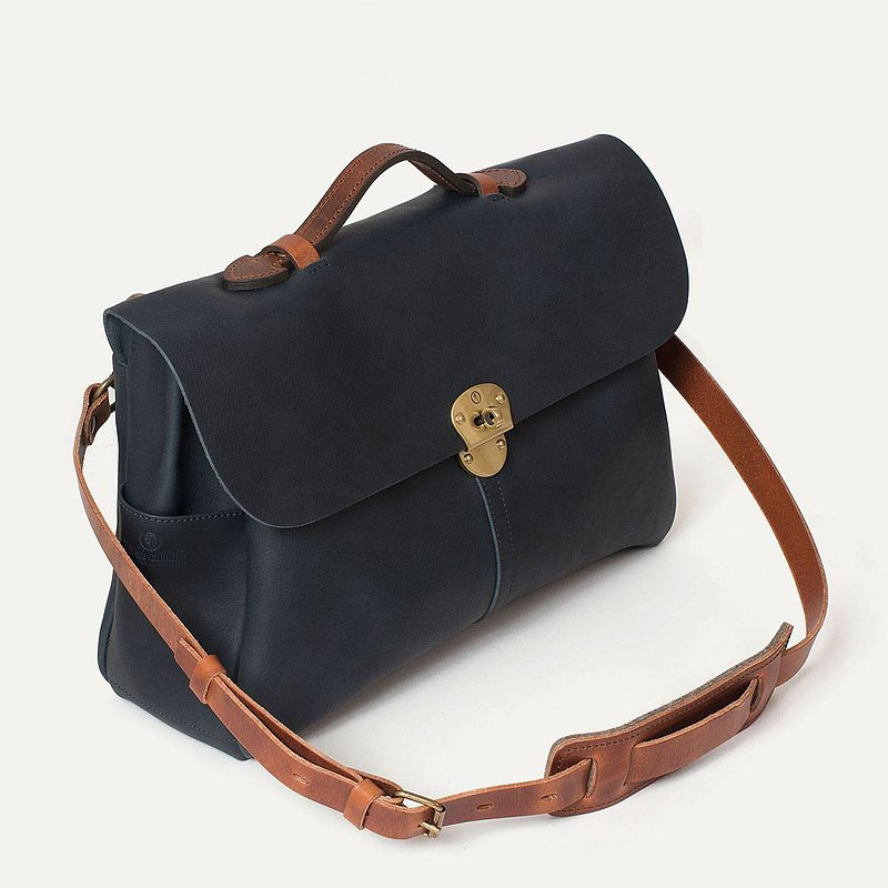 Bleu de Chauffe-Hank leather messenger bag_Marine / azure blue