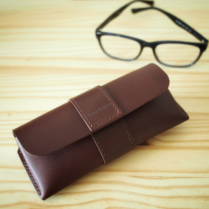 Handmade Personalized Glasses Case, Dark Brown Vegetable Tanned Leather