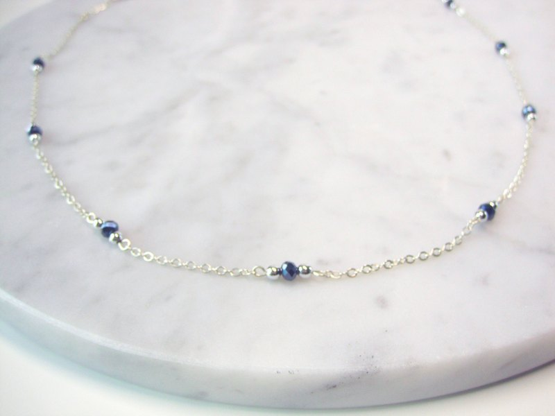 Dainty Choker Necklace | Blue Hematite