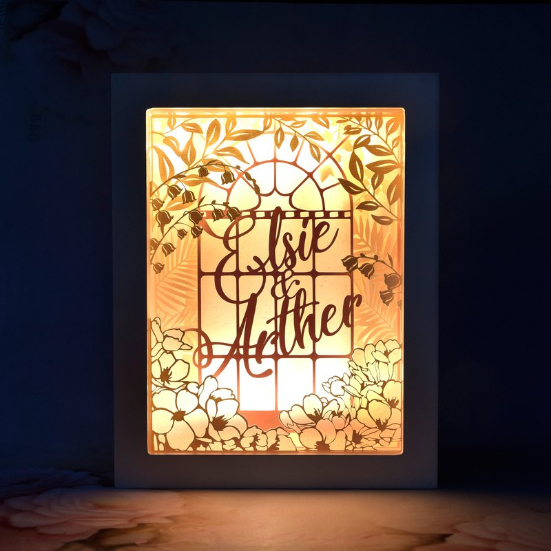 溫室花園主題 // 手工客製化名字特式LED紙雕燈 // 結婚禮物