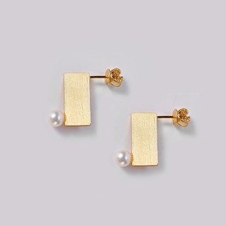 JIYI pong rectangle earrings earrings sterling silver gold-plated inlay Freshwater Pearl