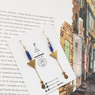|Souvenirs|Original natural stone brass slender temperament elegant earrings 925 gold plated