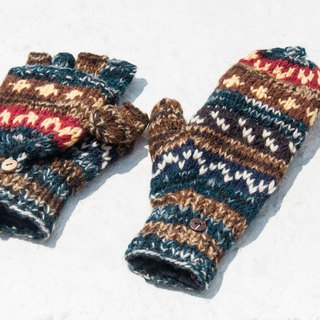 Hand-knitted pure wool knit gloves / detachable gloves / inner bristled gloves / warm gloves - desert starry sky