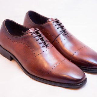 Hand-dyed calfskin leather wood carved Oxford shoes shoes men's shoes - Coffee - Free Shipping - E1A24-89