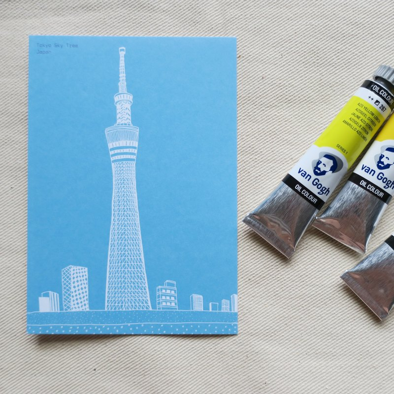 Travel Scenery Japan - Tokyo Sky Tree / Illustrator Postcard