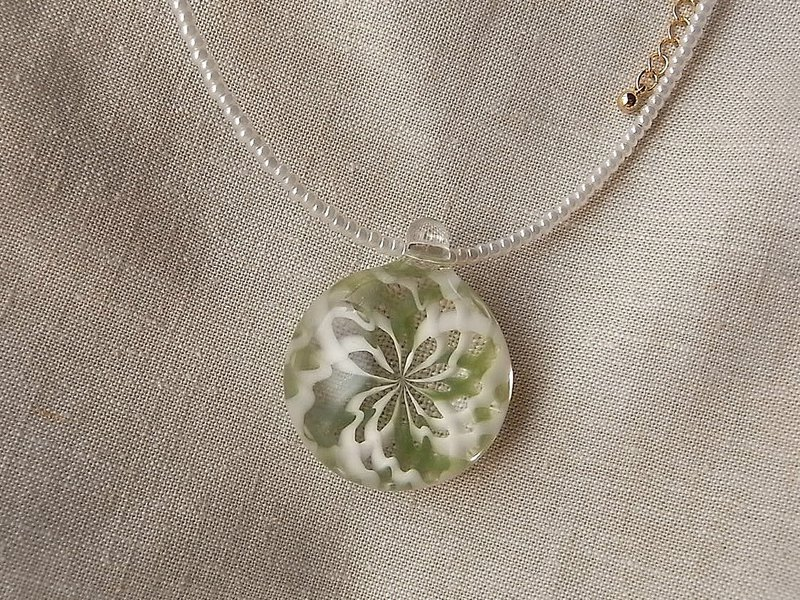 Geometric pattern Pendant Green and White Glass Handmade