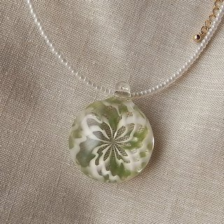 Rose window Geometric pattern Pendant Green and White Glass Handmade