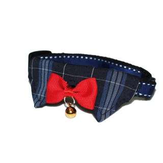 Pet Collar Emblem Blue Plaid Cat/Dog Collar S~M