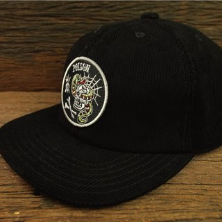 "【METALIZE】""POISON"" Corduroy Baseball Cap ""POISON""黑色燈心絨復古棒球帽"