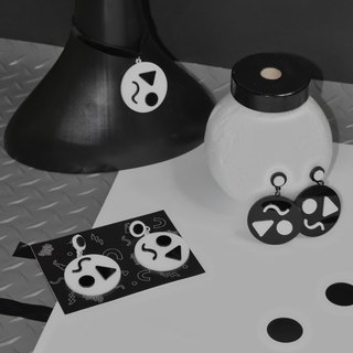 Black and white geometric earrings
