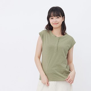 Slub yarn fabric cap sleeve shirt /Green