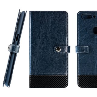 CASE SHOP OPPO R11s stitching side panels vertical leather case - blue (4716779659146)