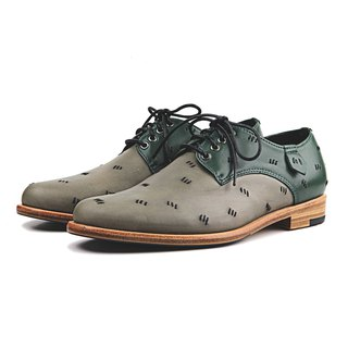 Snowdrop M1091CC Stitching Green Leather Derby shoes