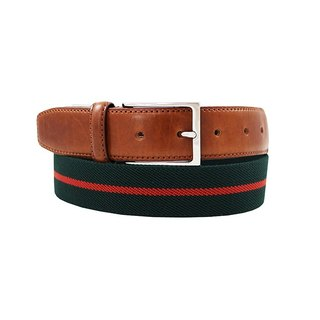 LAPELI │ Belgian elastic fabric belt - two-color striped dark green