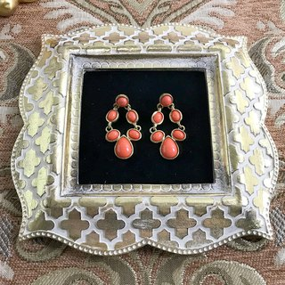 Orange Phnom Penh Imitation Gemstone Antique Earrings BKA063