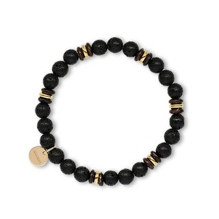 String Series Brass Volcanic Rock Coconut Shell Bracelet Natural Ore Crystal