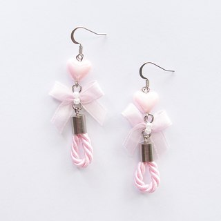 Sweet pink bow drop earrings