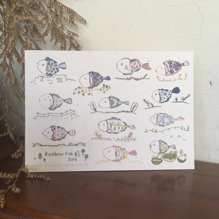 Rainbow Fish Embroidered Fish Postcard